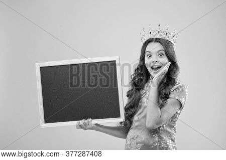 This Is Sensation. Happy Princess Hold School Blackboard. Proud Girl In Crown Back To School. Empty