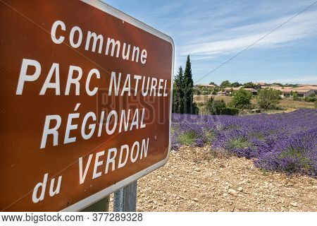 Valensole, France - July 5, 2020: Plateau De Valensole - An Area Of Lavender Fields In The Verdon Na