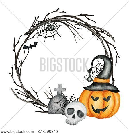 Happy Halloween Holiday Party Frame With Jack O Lantern Pumpkins, Skull, Bat, Spider Party Decoratio
