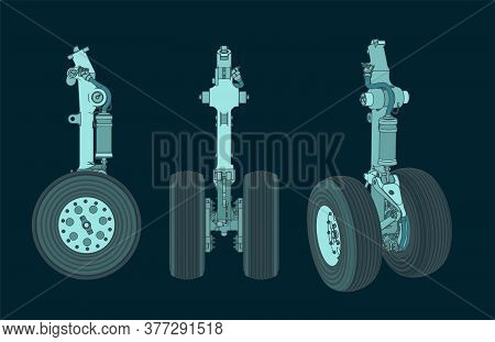 Aircraft Landing Gear Color Drawings