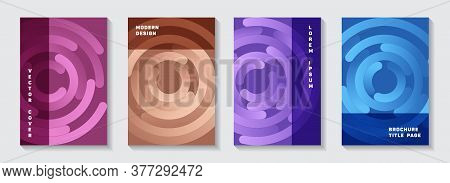 Business Catalogue Covers Layouts. Graphic Presentation Gradient Circles Twist Vector Backgrounds. A