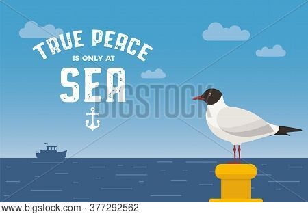 Seagull Vector Illustration. Sea Gull At A Mooring Bollard On Ocean Background. Seagull At The Shore