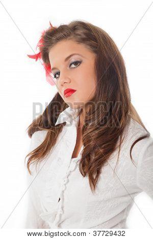 Scornful Pin-up Teenage Girl