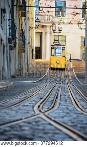Famous Bica Funicular, Inaugurated In 1892, In The Charming District Of Baixa-chiado, Lisbon, Portug