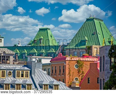 Rooftops Across City In Quebec City, Quebec, Canada