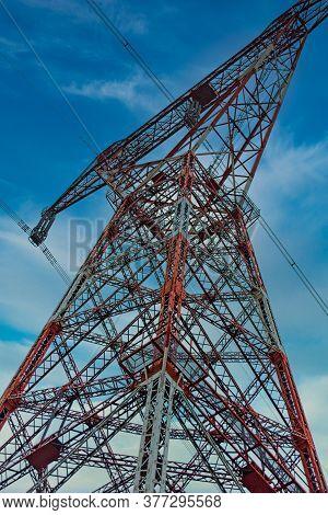 High Power Pylon In Saguenay, Quebec, Canada