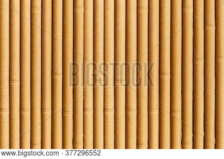 Close - Up Of Bamboo Wall Or Bamboo Fence Texture. Old Brown Tone Natural Bamboo Fence Texture Backg