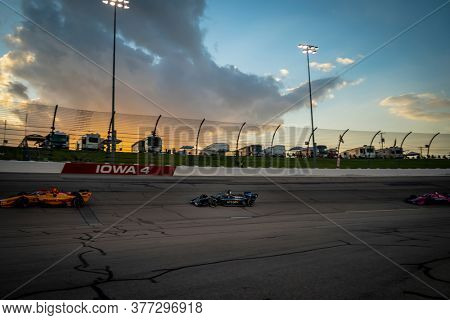 July 18, 2020 - Newton, Iowa, USA: FELIX ROSENQVIST (10) of Värnamo, Sweden  races through the turns during the  race for the Iowa INDYCAR 250s at Iowa Speedway in Newton, Iowa.