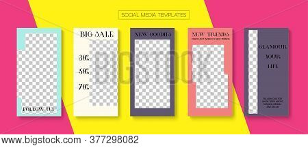 Modern Stories Vector Background. Blogger Modern Covers, Social Media Kit Template. Online Shop Fash