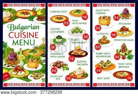 Bulgarian Restaurant Menu Vector Template Of Traditional Cuisine Food. Vegetable Soups, Yogurt, Toma