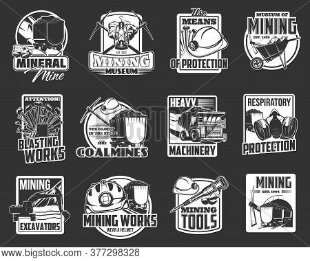 Mining Industry Isolated Vector Icons With Miner Tools And Coal Mine Equipment. Miner Helmet, Pickax