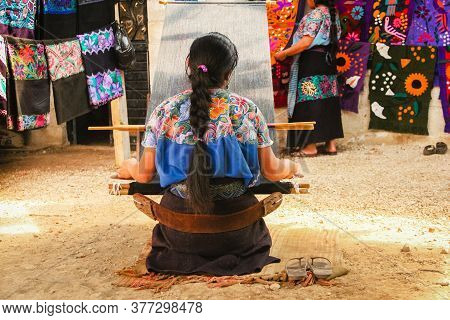 Mexican Woman Working Loom In Chiapas Mexico