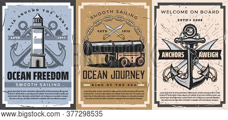Nautical Anchor And Sailboat Retro Posters Of Vector Sailing Sport, Marine Travel And Journey. Sea A