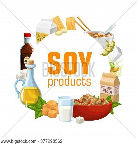 Soy Food Product With Vector Soybean Tofu, Soya Milk And Oil, Tempeh, Soy Sauce Bottle, Flour Bag An