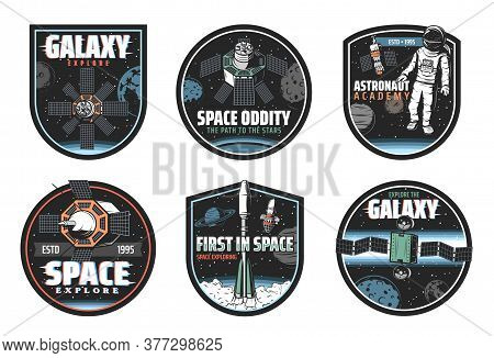 Space And Galaxy Exploration Vector Icons With Spaceships, Astronaut And Universe Planets. Rockets W