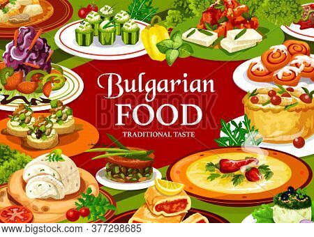 Bulgarian Food Vector Design With Vegetable Yogurt Salads, Soups And Meat Stew. Zucchini Toasts And