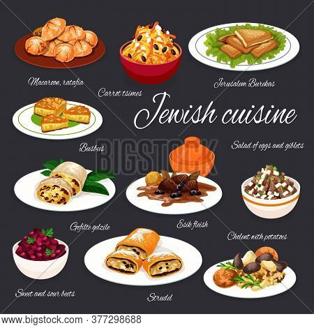 Jewish Cuisine Meat, Vegetable Dishes With Desserts, Vetor Food. Potato Cholent And Beef With Prunes