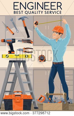 Construction Engineer With Work Tools, Cartoon Vector Engineering Industry Profession Design. Contra