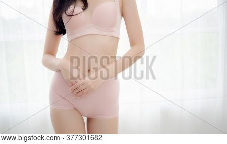 Closeup Asian Woman Wear Underwear Beautiful Body Belly Slim Shape Sexy With Diet At Room, Model Asi