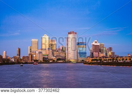 London Skyline At Canary Wharf By River Thames