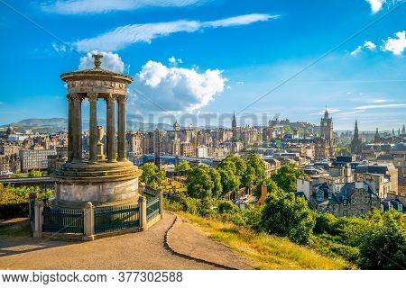 Landscape Of Calton Hill At Edinburgh, Uk