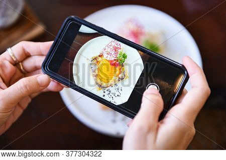 Food Photography Woman Hands Make Photo Cake With Smartphone / Taking Photo Food For Post And Share