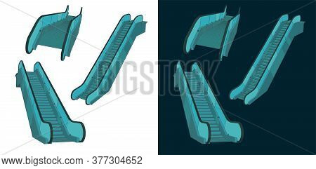 Stylized Vector Illustration Of A Escalator Color Drawings