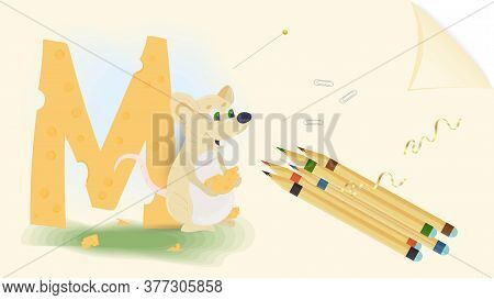 Illustration Of A Banner Layout, English Alphabet For Learning The Alphabet, Letter M, Animal Mouse,