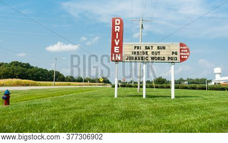 Litchfield Usa - September 1 2015; Drive-in Movie Theatre Sign Along Route 66 Highway Just Outside T