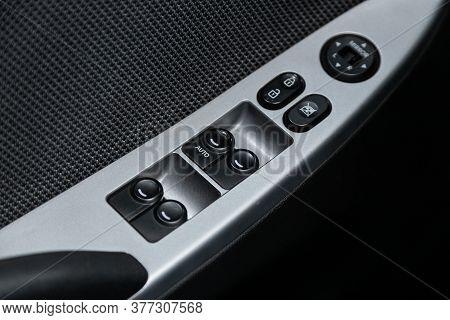 Novosibirsk/ Russia - June 15 2020: Hyundai Solaris, Closeup Of A Door Control Panel In A New Car. A