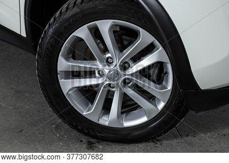 Novosibirsk/ Russia - June 23 2020: Nissan Juke, Car Wheel With Alloy Wheel And New Rubber On A Car