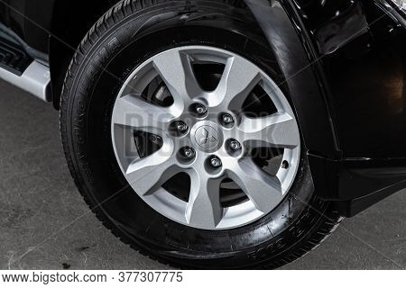 Novosibirsk/ Russia - June 30 2020:mitsubishi Pajero, Car Wheel With Alloy Wheel And New Rubber On A