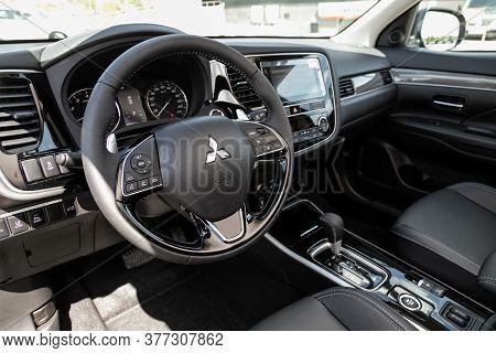 Novosibirsk/ Russia - July 04 2020:mitsubishi Outlander, Xury Car Interior - Steering Wheel, Shift L
