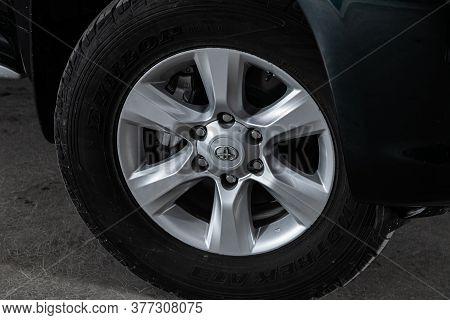 Novosibirsk/ Russia - May 25 2020: Toyota Land Cruiser Prado, Car Wheel With Alloy Wheel And New Rub