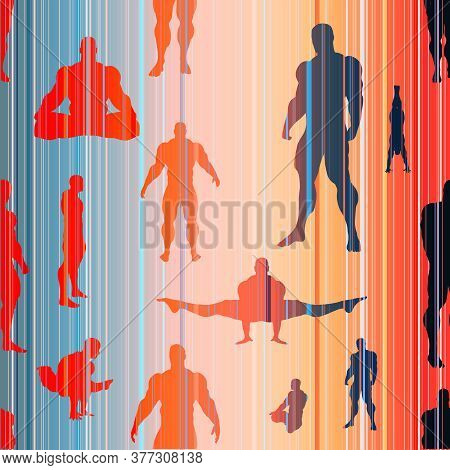 Body Building Silhouettes. Bodybuilder Posing. Seamless Background