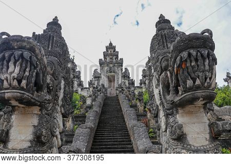 Stone Ladders In Beautiful Pura Lempuyang Luhur Temple. Summer Landscape With Stairs To Temple. Padu