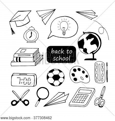 Back To School Hand Drawn In Doodle Style. Vector, Scandinavian, Monochrome. Set Of Elements For Des