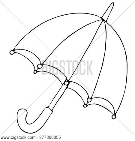 Open Umbrella From The Autumn Rain, Freehand Drawing, Vector Element In Doodle Style, Coloring Book,