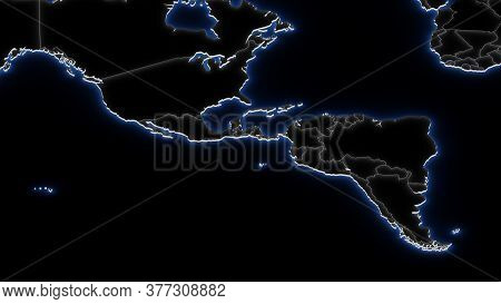 3d Map Of South America In Blue Neon On Black, With International Boundaries. Global Geopolitics Con