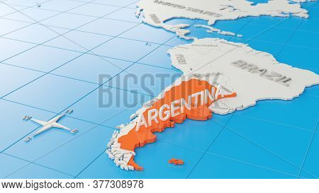 Simplified 3d Map Of South America, With Argentina Highlighted. Digital 3d Render.