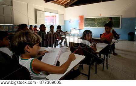 Pau Brasil, Bahia / Brazil - April 24, 2012: Students Are Seen In A Public School In The City Of Pau