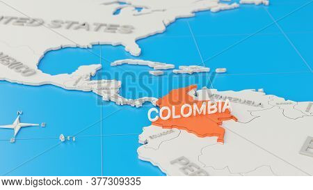 Simplified 3d Map Of South America, With Colombia Highlighted. Digital 3d Render.