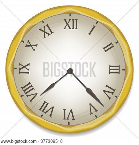 Vintage Watch. Vector Old Clock With Roman Numerals. Flat Image Of An Antique Dial.