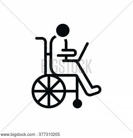 Black Solid Icon For Accessibility Disability Wheelchair Accommodation Handicap Physically Mobility