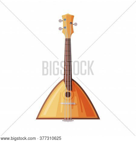Balalaika Traditional Russian String Musical Instrument Flat Style Vector Illustration On White Back