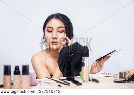 Portrait Young Girl, Young Asian Woman Applying Makeup, Female Use Brush For Apply Eye Shadow Make U