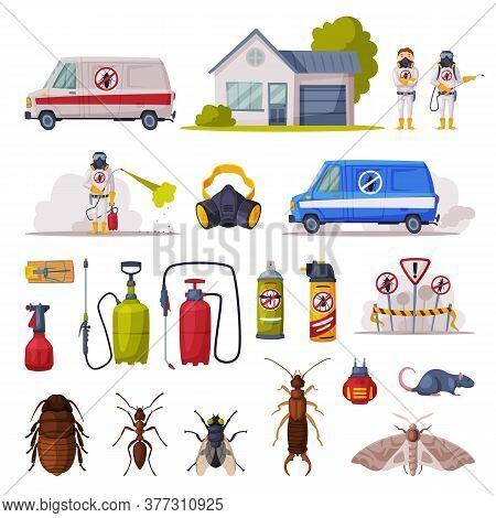 Professional Home Pest Control Set, Exterminator, Service Van, Exterminating And Protecting Equipmen