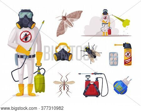 Home Pest Service, Exterminator Wearing Protection Uniform With Exterminating And Protecting Equipme