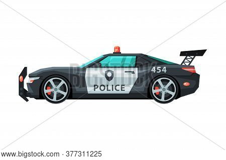 Modern Police Car, Emergency Patrol Vehicle, Side View Flat Vector Illustration
