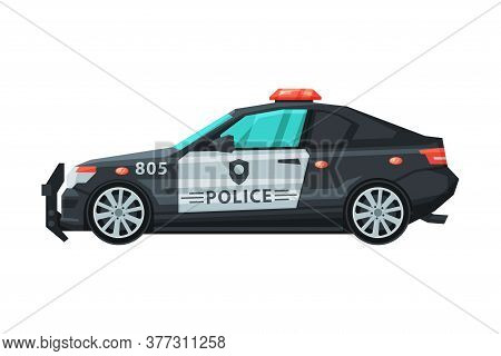 Police Car, Emergency Patrol Vehicle Flat Vector Illustration